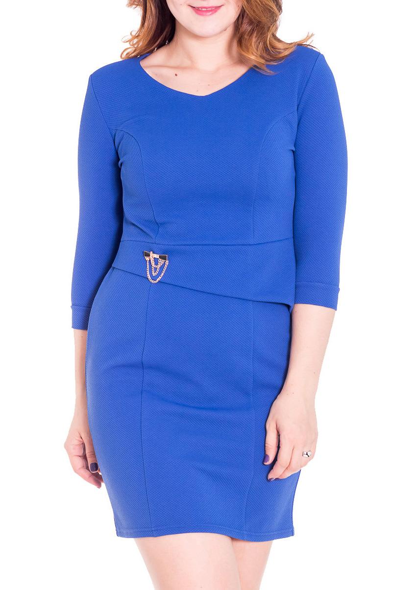 ПлатьеПлатья<br>Прелестное платье с рукавами 3/4 и закругленной горловиной. Модель выполнена из плотного трикотажа. Отличный выбор для любого случая.  Цвет: синий  Рост девушки-фотомодели 180 см<br><br>Горловина: С- горловина<br>По длине: До колена<br>По материалу: Трикотаж,Шерсть<br>По рисунку: Однотонные<br>По сезону: Весна,Осень,Зима<br>По силуэту: Полуприталенные<br>По стилю: Повседневный стиль<br>По форме: Платье - футляр<br>По элементам: С декором<br>Рукав: Рукав три четверти<br>Размер : 46,48,52,54,58<br>Материал: Трикотаж<br>Количество в наличии: 8