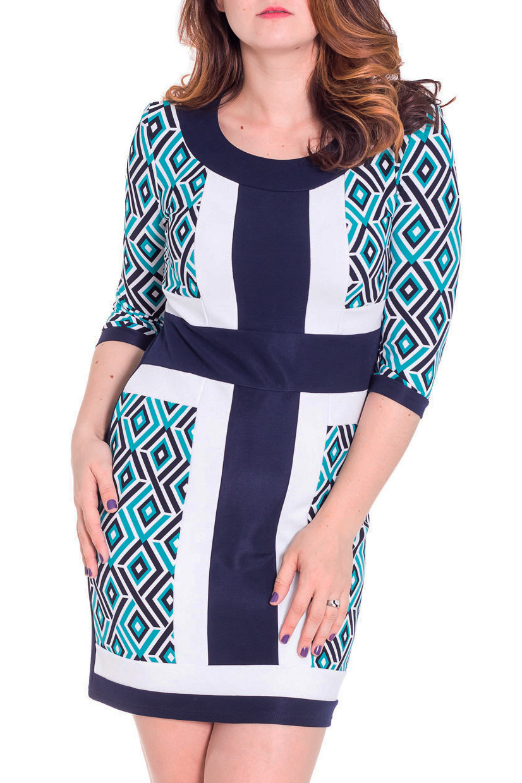 ПлатьеПлатья<br>Красивое платье с рукавами 3/4 и закругленной горловиной. Модель выполнена из плотного трикотажа. Отличный выбор для любого случая.  Цвет: синий, голубой, белый  Рост девушки-фотомодели 180 см<br><br>Горловина: С- горловина<br>По длине: До колена<br>По материалу: Трикотаж,Шерсть<br>По рисунку: Цветные,Геометрия,С принтом<br>По силуэту: Приталенные<br>По стилю: Повседневный стиль<br>По форме: Платье - футляр<br>Рукав: Рукав три четверти<br>По сезону: Осень,Весна<br>Размер : 48,50,52,54,56<br>Материал: Джерси<br>Количество в наличии: 5