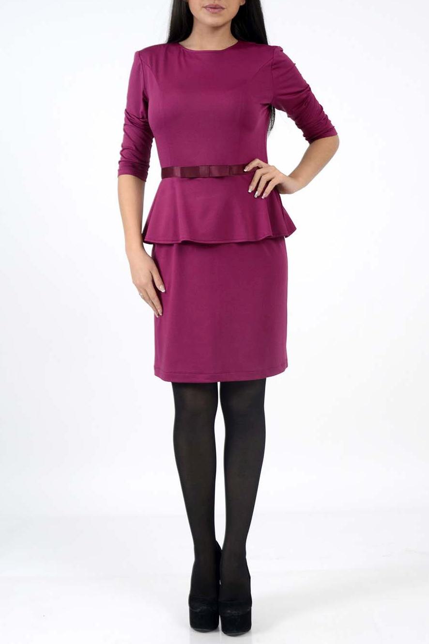ПлатьеПлатья<br>Элегантное женское платье с круглой горловиной и рукавами 3/4. Модель выполнена из приятного трикотажа. Отличный вариант для повседневного и делового гардероба.  Цвет: малиновый<br><br>Горловина: С- горловина<br>По длине: Миди<br>По материалу: Вискоза,Трикотаж<br>По образу: Город,Офис,Свидание<br>По рисунку: Однотонные<br>По сезону: Весна,Зима,Осень<br>По силуэту: Полуприталенные<br>По элементам: С баской,С поясом<br>Рукав: Рукав три четверти<br>По форме: Платье - футляр<br>По стилю: Молодежный стиль,Офисный стиль,Повседневный стиль<br>Размер : 42,44,46<br>Материал: Холодное масло<br>Количество в наличии: 3