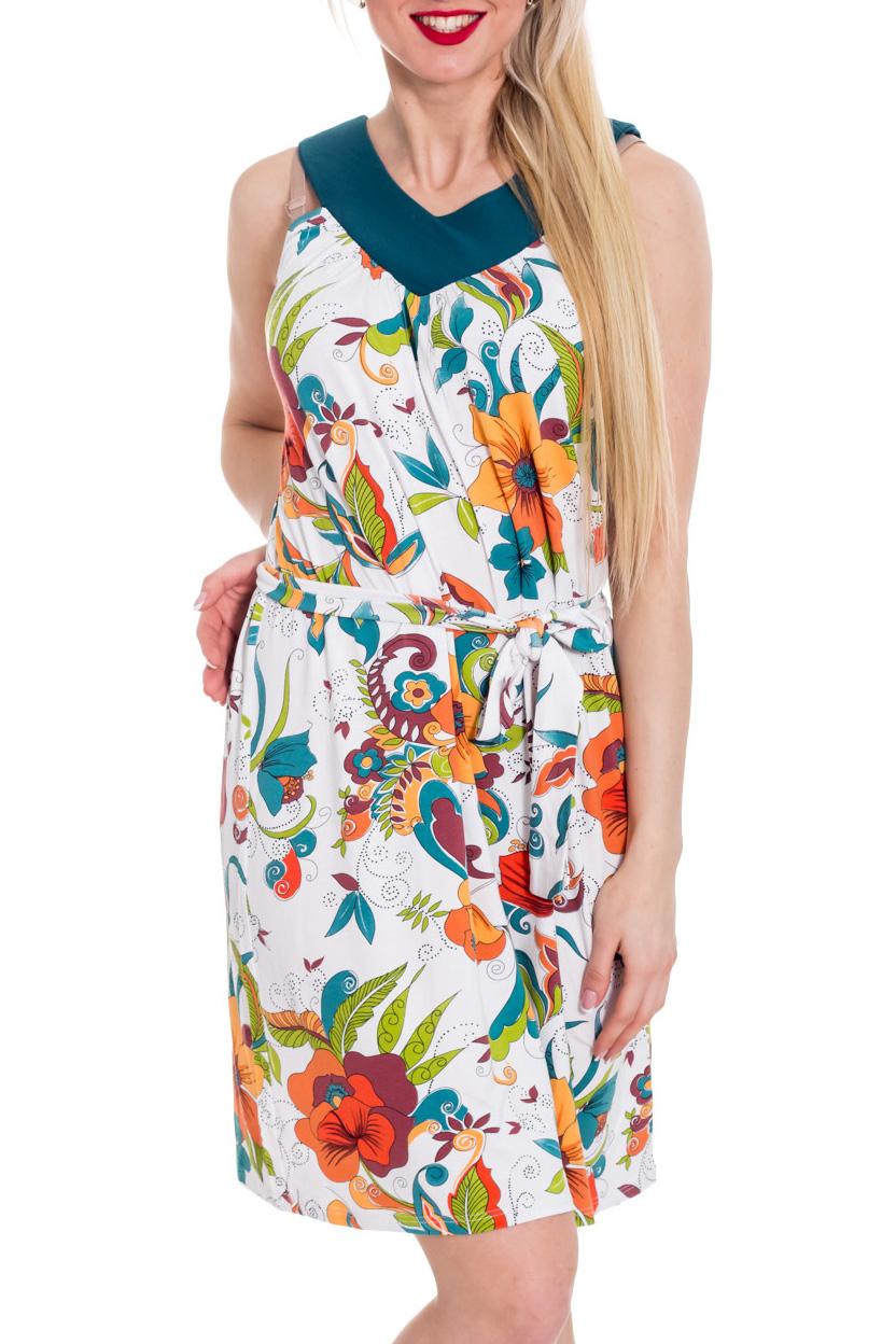 ПлатьеПлатья<br>Свободное летнее платье. Модель выполнена из мягкой вискозы. Отличный выбор для повседневного гардероба. Платье без пояса.  Цвет: белый, зеленый, бирюзовый, оранжевый.  Рост девушки-фотомодели 170 см<br><br>Горловина: V- горловина<br>По длине: До колена<br>По материалу: Вискоза<br>По рисунку: Растительные мотивы,С принтом,Цветные,Цветочные<br>По силуэту: Свободные<br>По стилю: Повседневный стиль<br>Рукав: Без рукавов<br>По сезону: Лето<br>Размер : 44,46,48<br>Материал: Вискоза<br>Количество в наличии: 7