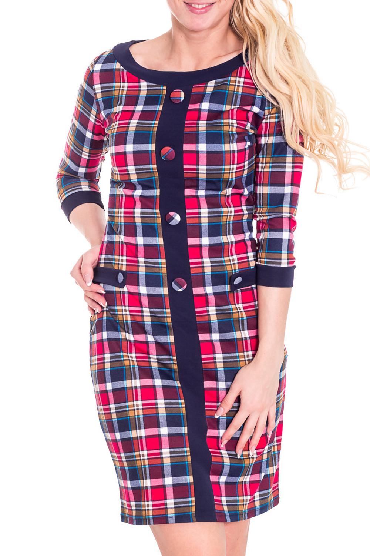 ПлатьеПлатья<br>Красивое платье с круглой горловиной и рукавами 3/4. Модель выполнена из плотного трикотажа. Отличный выбор для повседневного гардероба.  Цвет: синий, розовый  Рост девушки-фотомодели 170 см.<br><br>Горловина: С- горловина<br>По длине: До колена<br>По материалу: Трикотаж,Шерсть<br>По рисунку: Цветные,В клетку,С принтом<br>По силуэту: Полуприталенные<br>По стилю: Повседневный стиль<br>По форме: Платье - футляр<br>По элементам: С декором<br>Рукав: Рукав три четверти<br>По сезону: Зима<br>Размер : 44,46<br>Материал: Джерси<br>Количество в наличии: 2