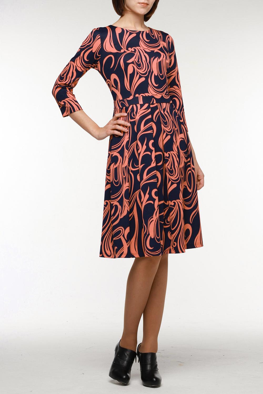 ПлатьеПлатья<br>Прекрасное платье из мягкого плотного трикотажа с ажурным принтом. Рукав 3/4, горловина обработана обтачкой, на спинке молния длиной 50 см. По талии втачной пояс, который хорошо держит юбку с мягкими встречными складками. Платье актуально для любого случая.  Цвет: синий, коралловый  Рост девушки-фотомодели 177 см<br><br>Горловина: С- горловина<br>По длине: Ниже колена<br>По материалу: Трикотаж<br>По образу: Город,Свидание<br>По рисунку: Абстракция,Цветные<br>По сезону: Весна,Осень<br>По силуэту: Полуприталенные<br>По стилю: Повседневный стиль<br>По форме: Платье - трапеция<br>По элементам: С поясом<br>Рукав: Рукав три четверти<br>Размер : 50,54<br>Материал: Трикотаж<br>Количество в наличии: 2