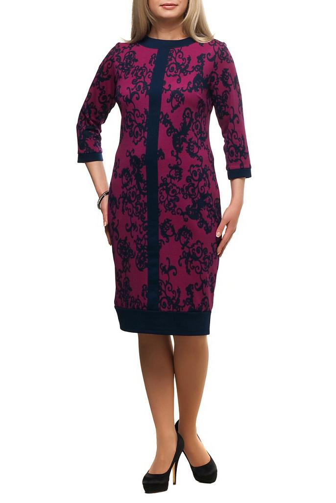 ПлатьеПлатья<br>Повседневное платье с круглой горловиной и рукавами 3/4. Модель выполнена из плотного трикотажа. Отличный выбор для повседневного гардероба.  В изделии использованы цвета: фиолетовый, темно-синий  Рост девушки-фотомодели 173 см.<br><br>Горловина: С- горловина<br>По длине: Ниже колена<br>По материалу: Трикотаж<br>По рисунку: С принтом,Цветные<br>По сезону: Зима,Осень,Весна<br>По силуэту: Полуприталенные<br>По стилю: Повседневный стиль<br>По форме: Платье - футляр<br>По элементам: С манжетами<br>Рукав: Рукав три четверти<br>Размер : 48,50,54,58,60,64,66,68<br>Материал: Трикотаж<br>Количество в наличии: 8