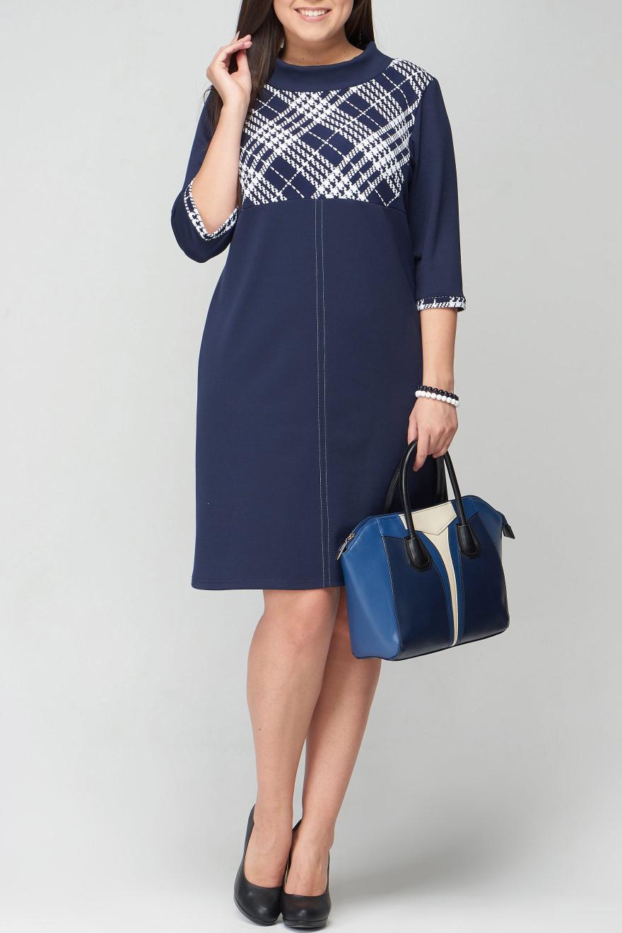 ПлатьеПлатья<br>Женское платье с круглой горловиной и рукавами 3/4. Модель выполнена из приятного материала. Отличный выбор для повседневного и делового гардероба.  В изделии использованы цвета: синий, белый  Рост девушки-фотомодели 170 см<br><br>Горловина: С- горловина<br>По длине: До колена<br>По материалу: Вискоза,Трикотаж<br>По образу: Город,Офис,Свидание<br>По рисунку: С принтом,Цветные<br>По силуэту: Полуприталенные<br>По стилю: Офисный стиль,Повседневный стиль<br>По форме: Платье - трапеция<br>Рукав: Рукав три четверти<br>По сезону: Осень,Весна,Зима<br>Размер : 46,48<br>Материал: Трикотаж<br>Количество в наличии: 3