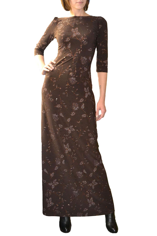 ПлатьеПлатья<br>Великолепное коричневое платье в пол для праздничного вечера. Выполнено из трикотажа, украшенного пайетками и изысканным растительным принтом, рукав 3-4. В 40 размере длина платья меньше, чем на фото на 15 см.  Цвет: коричневый  Рост девушки-фотомодели 177 см<br><br>Горловина: Лодочка<br>По длине: Макси<br>По материалу: Трикотаж<br>По образу: Город,Свидание<br>По рисунку: Однотонные,Растительные мотивы,Цветочные<br>По сезону: Весна,Всесезон,Зима,Лето,Осень<br>По силуэту: Полуприталенные<br>По стилю: Повседневный стиль<br>Рукав: Рукав три четверти<br>Размер : 40<br>Материал: Холодное масло<br>Количество в наличии: 1