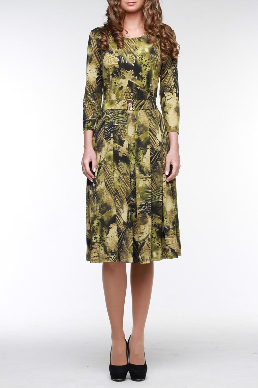 ПлатьеПлатья<br>Замечательное платье из трикотажа холодное масло с абстрактным принтом в зеленых тонах с золотом. Рукав 4/5, широкая юбка с мягкими складками, эластичный пояс с красивой пряжкой.  Цвет: зеленый  Рост девушки-фотомодели 176 см<br><br>Горловина: С- горловина<br>По длине: Ниже колена<br>По материалу: Трикотаж<br>По образу: Город,Свидание<br>По рисунку: Абстракция,Цветные<br>По силуэту: Полуприталенные<br>По стилю: Повседневный стиль<br>По форме: Платье - трапеция<br>По элементам: С поясом<br>Рукав: Рукав три четверти<br>По сезону: Осень,Весна<br>Размер : 48,50,52,54<br>Материал: Трикотаж<br>Количество в наличии: 2