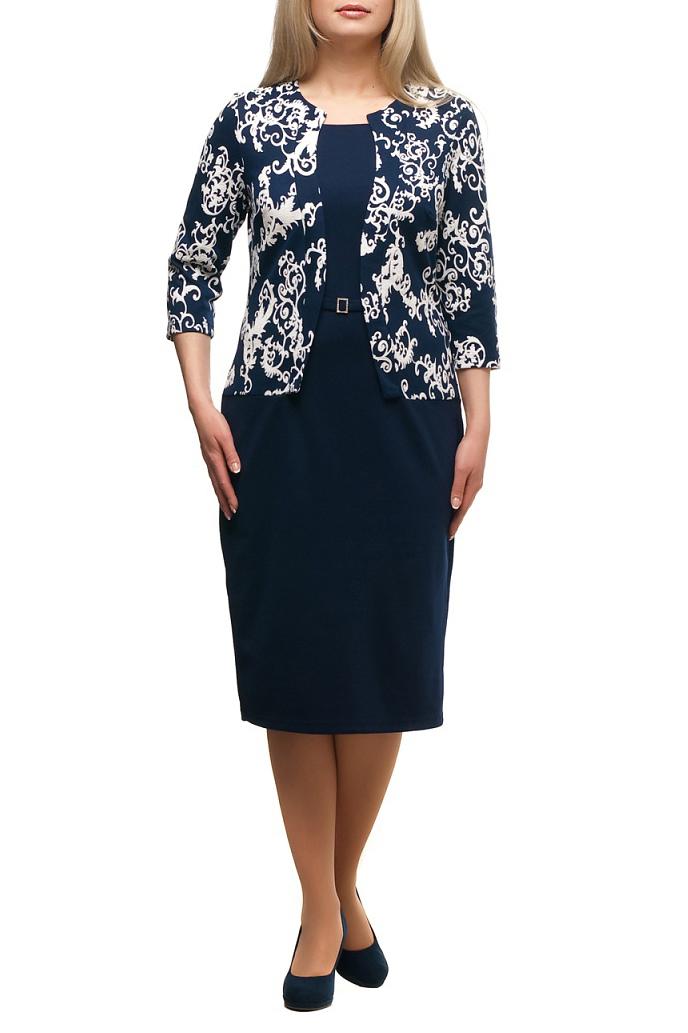 ПлатьеПлатья<br>Красивое платье с имитацией жакета. Модель выполнена из приятного трикотажа. Отличный выбор для любого случая.  В изделии использованы цвета: синий, молочный  Рост девушки-фотомодели 173 см.<br><br>Горловина: Фигурная горловина<br>По длине: Ниже колена<br>По материалу: Трикотаж<br>По рисунку: С принтом,Цветные<br>По сезону: Зима,Осень,Весна<br>По силуэту: Приталенные<br>По стилю: Повседневный стиль<br>По форме: Платье - футляр<br>По элементам: С разрезом<br>Разрез: Короткий,Шлица<br>Рукав: Рукав три четверти<br>Размер : 50,62,68,70<br>Материал: Трикотаж<br>Количество в наличии: 5