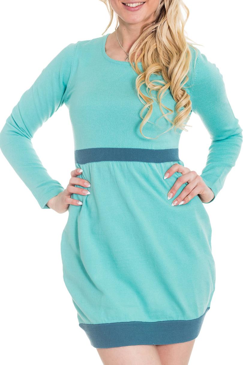 ПлатьеПлатья<br>Вязаное платье нежно-голубого цвета с юбкой-баллоном отлично подойдет студенткам для учебы, уместно будет и в офисе. Пояс и низ платья связаны из пряжи другого цвета. Длинный шарф в тон пояса украсит это уютное платье.<br><br>Горловина: С- горловина<br>По длине: До колена<br>По материалу: Вязаные,Трикотаж<br>По образу: Город,Свидание<br>По рисунку: Цветные<br>По силуэту: Приталенные<br>По стилю: Повседневный стиль<br>По форме: Платье - баллон<br>Рукав: Длинный рукав<br>По сезону: Осень,Весна,Зима<br>Размер : 42<br>Материал: Вязаное полотно<br>Количество в наличии: 1