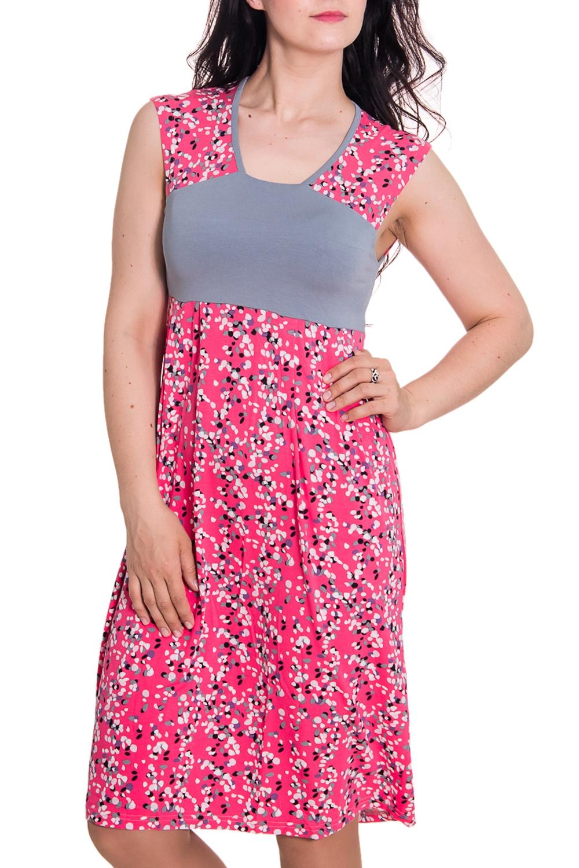 ПлатьеПлатья<br>Женское домашнее платье без рукавов. Домашняя одежда, прежде всего, должна быть удобной, практичной и красивой. В платье Вы будете чувствовать себя комфортно, особенно, по вечерам после трудового дня.  Цвет: розовый, серый  Рост девушки-фотомодели 180 см.<br><br>По материалу: Вискоза,Хлопковые<br>По рисунку: В горошек,Цветные,С принтом<br>По силуэту: Полуприталенные<br>По стилю: Повседневные<br>По элементам: Без рукавов<br>По сезону: Лето,Весна,Зима,Осень,Всесезон<br>По длине: До колена<br>Горловина: С- горловина<br>Размер : 48,50<br>Материал: Вискоза<br>Количество в наличии: 1