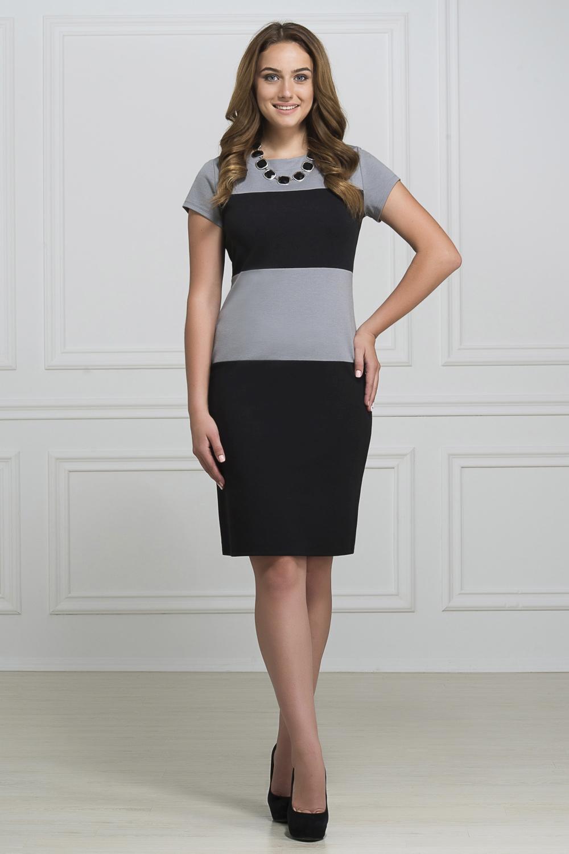 ПлатьеПлатья<br>Элегантное платье построенное на сочетании двух контрастных цветов. Классический вариант для офиса. Ткань - плотный трикотаж, характеризующийся эластичностью, растяжимостью и мягкостью. Ростовка изделия 170 см.  Длина изделия 96-98 см.  В изделии использованы цвета: черный, серый  Рост девушки-фотомодели 173 см<br><br>Горловина: С- горловина<br>По длине: До колена<br>По материалу: Вискоза,Трикотаж<br>По рисунку: В полоску,Цветные<br>По силуэту: Приталенные<br>По стилю: Офисный стиль,Повседневный стиль<br>По форме: Платье - футляр<br>Рукав: Короткий рукав<br>По сезону: Осень,Весна,Зима<br>Размер : 46,48,50,52<br>Материал: Трикотаж<br>Количество в наличии: 8