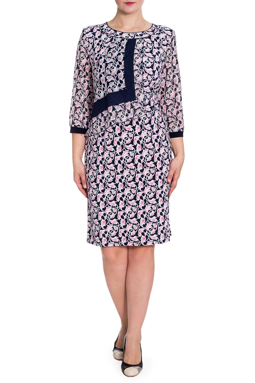 ПлатьеПлатья<br>Платье из двух тканей одного принта - трикотаж и шифон. Рукав выполнен из шифона и контрастной манжеты по низу, мягко ложится по руке, что создает практичность и удобство в носке. Шифоновая отлетная деталь придает изящность образу своей обладательницы. Весьма практичное и удобное в носке платье для всех типов фигур на все случаи жизни.  В изделии использованы цвета: синий, розовый и др.  Рост девушки-фотомодели 180 см<br><br>Горловина: С- горловина<br>По длине: До колена<br>По материалу: Трикотаж,Шифон<br>По рисунку: С принтом,Цветные<br>По сезону: Весна,Зима,Лето,Осень,Всесезон<br>По силуэту: Полуприталенные<br>По стилю: Нарядный стиль<br>По форме: Платье - футляр<br>По элементам: С декором,С манжетами<br>Рукав: Рукав три четверти<br>Размер : 54,56,58,60<br>Материал: Холодное масло + Шифон<br>Количество в наличии: 7