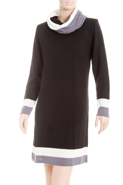 ПлатьеПлатья<br>Цветное платье с длинными рукавами из вязанного трикотажа. Вязаный трикотаж - это красота, тепло и комфорт. В вязаных вещах очень легко оставаться женственной и в то же время не замёрзнуть.  В изделии использованы цвета: черный, белый, серый  Ростовка изделия 164 см<br><br>Воротник: Хомут<br>По длине: До колена<br>По материалу: Вязаные,Трикотаж<br>По образу: Город<br>По рисунку: Цветные<br>По сезону: Осень,Зима<br>По силуэту: Приталенные<br>По стилю: Повседневный стиль<br>По форме: Платье - футляр<br>Рукав: Длинный рукав<br>Размер : 48,50<br>Материал: Вязаное полотно<br>Количество в наличии: 2