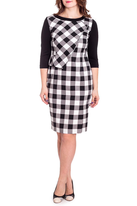 ПлатьеПлатья<br>Чудесное платье с интересным лифом. Модель выполнена из мягкого трикотажа. Отличный выбор для повседневного гардероба.  В изделии использованы цвета: черный, белый, серый  Рост девушки-фотомодели 180 см.<br><br>Горловина: С- горловина<br>По длине: До колена<br>По материалу: Вискоза,Трикотаж<br>По рисунку: В клетку,С принтом,Цветные<br>По силуэту: Приталенные<br>По стилю: Повседневный стиль<br>По форме: Платье - футляр<br>По элементам: С декором<br>Рукав: Рукав три четверти<br>По сезону: Осень,Весна,Зима<br>Размер : 46,48,50,52<br>Материал: Трикотаж<br>Количество в наличии: 4
