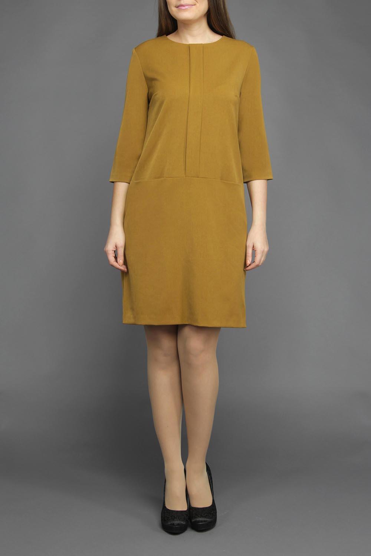 ПлатьеПлатья<br>Молодежное женское платье прямого силуэта, с двумя карманами спереди. Застежка расположена сзади по среднему шву на потайную тесьму молнию. Великолепный повседневный офисный вариант прекрасной расцветки и элегантного дизайна, позволит создать безукоризненный образ.  Цвет: горчичный  Ростовка изделия 170 см.<br><br>По образу: Офис,Свидание,Город<br>По стилю: Повседневный стиль,Офисный стиль<br>По материалу: Тканевые,Хлопок<br>По рисунку: Однотонные<br>По сезону: Осень,Весна<br>По силуэту: Свободные<br>По элементам: С карманами<br>По форме: Платье - трапеция<br>По длине: До колена<br>Рукав: Рукав три четверти<br>Горловина: С- горловина<br>Размер: 44,46,48,50,52<br>Материал: 80% хлопок 20% вискоза<br>Количество в наличии: 4