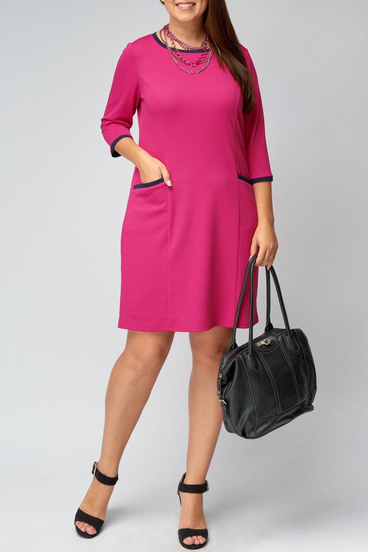 ПлатьеПлатья<br>Красивое платье с круглой горловиной и рукавами 3/4. Модель выполнена из однотонного трикотажа с контрастной отделкой. Отличный выбор для повседневного гардероба.  В изделии использованы цвета: розовый, темно-синий  Рост девушки-фотомодели 170 см<br><br>Горловина: С- горловина<br>По длине: До колена<br>По материалу: Вискоза,Трикотаж<br>По образу: Город,Свидание<br>По рисунку: Однотонные<br>По силуэту: Полуприталенные<br>По стилю: Повседневный стиль<br>По форме: Платье - футляр<br>По элементам: С карманами<br>Рукав: Рукав три четверти<br>По сезону: Осень,Весна,Зима<br>Размер : 50,52,54,56,58,60<br>Материал: Трикотаж<br>Количество в наличии: 15