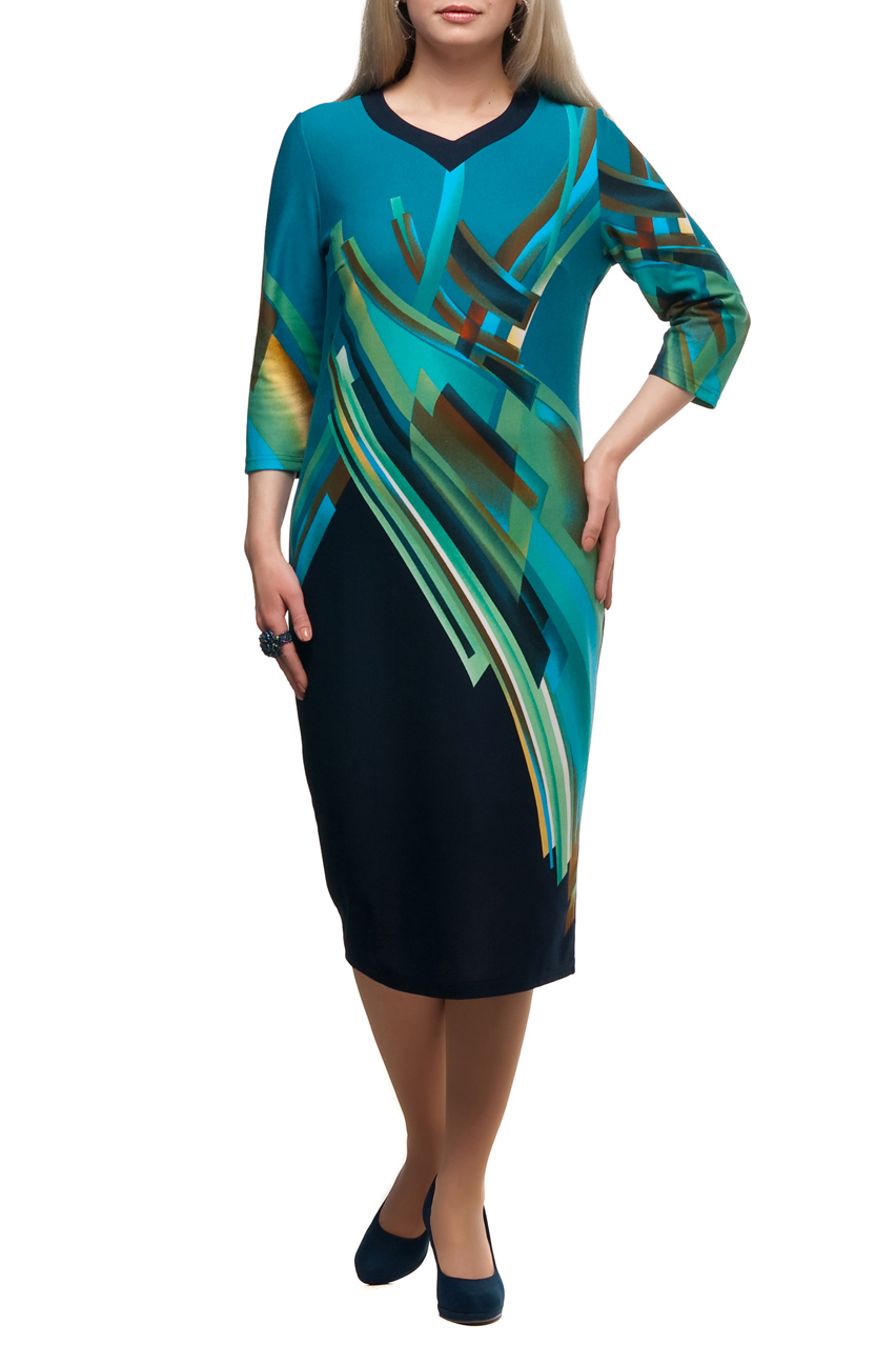 ПлатьеПлатья<br>Яркое платье с фигурной горловиной и рукавами 3/4. Модель выполнена из приятного трикотажа. Отличный выбор для повседневного гардероба.  В изделии использованы цвета: бирюзовый, темно-синий и др.  Рост девушки-фотомодели 173 см<br><br>Горловина: Фигурная горловина<br>По длине: Ниже колена<br>По материалу: Трикотаж<br>По рисунку: С принтом,Цветные<br>По сезону: Зима,Осень,Весна<br>По силуэту: Полуприталенные<br>По стилю: Повседневный стиль<br>По форме: Платье - футляр<br>Рукав: Рукав три четверти<br>Размер : 50,68,70<br>Материал: Трикотаж<br>Количество в наличии: 4