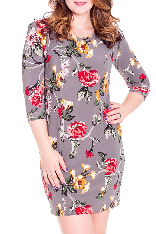 ПлатьеПлатья<br>Красивое платье с рукавами 3/4 и закругленной горловиной. Модель выполнена из плотного трикотажа. Отличный выбор для любого случая.  Цвет: серый, мультицвет  Рост девушки-фотомодели 180 см<br><br>Горловина: С- горловина<br>По длине: До колена<br>По материалу: Вискоза,Трикотаж<br>По образу: Город,Свидание<br>По рисунку: Растительные мотивы,Цветные,Цветочные,С принтом<br>По силуэту: Приталенные<br>По стилю: Повседневный стиль<br>По форме: Платье - футляр<br>Рукав: Рукав три четверти<br>По сезону: Осень,Весна<br>Размер : 50,56<br>Материал: Джерси<br>Количество в наличии: 2