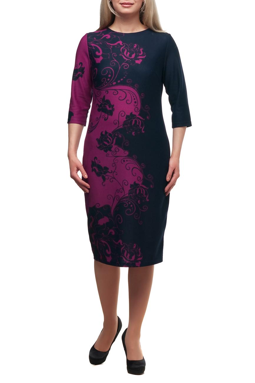 ПлатьеПлатья<br>Повседневное платье с круглой горловиной и рукавами 3/4. Модель выполнена из плотного трикотажа. Отличный выбор для повседневного гардероба.  В изделии использованы цвета: темно-синий, малиновый  Рост девушки-фотомодели 173 см.<br><br>Горловина: С- горловина<br>По длине: Ниже колена<br>По материалу: Трикотаж<br>По рисунку: С принтом,Цветные<br>По сезону: Зима,Осень,Весна<br>По силуэту: Полуприталенные<br>По стилю: Повседневный стиль<br>По форме: Платье - футляр<br>Рукав: Рукав три четверти<br>Размер : 48,66,68,70<br>Материал: Трикотаж<br>Количество в наличии: 4