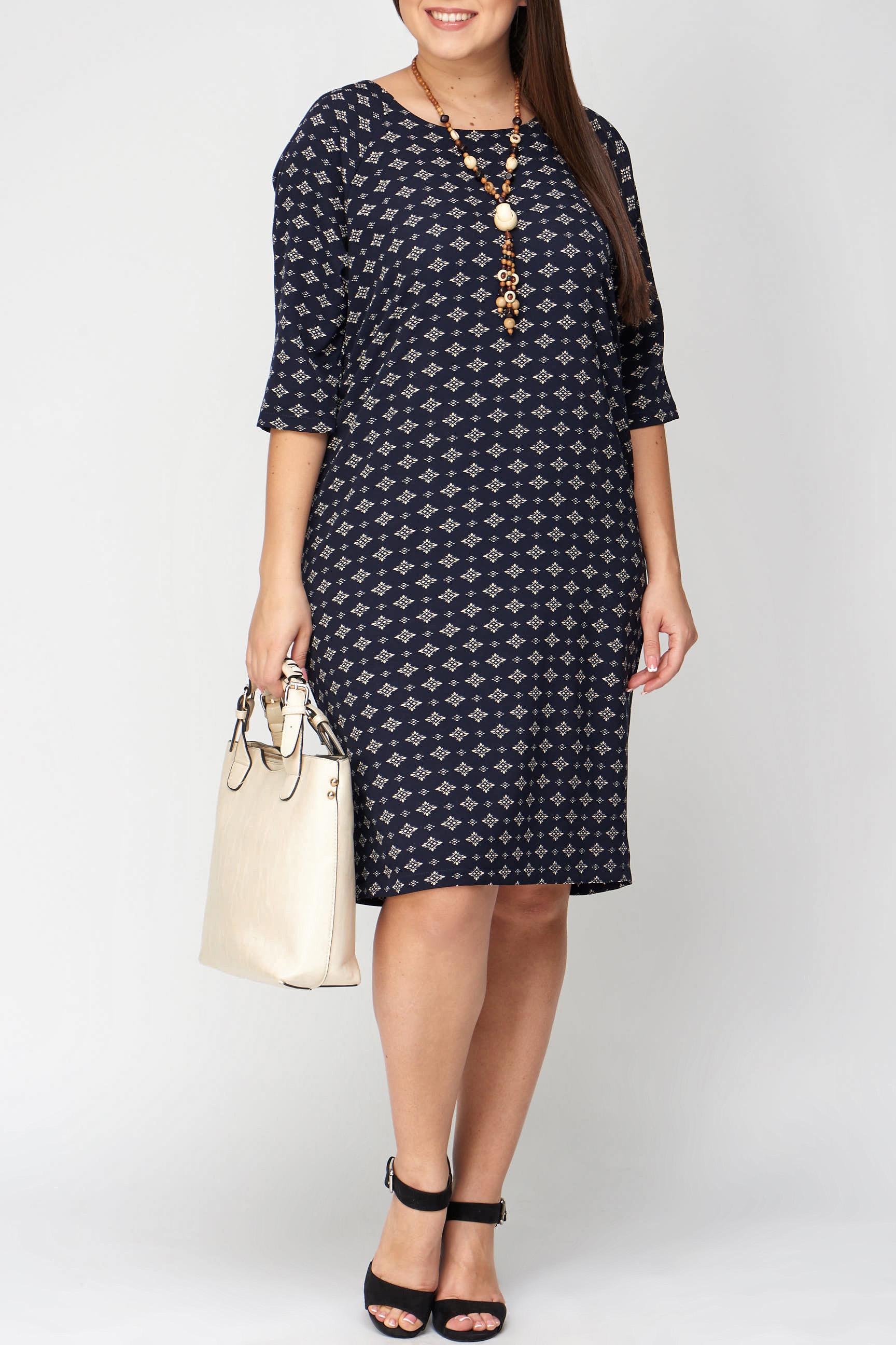ПлатьеПлатья<br>Изысканное платье прямого силуэта с рукавом-реглан благородного темно-синего цвета с невероятно элегантным рисунком. Платье послужит настоящим украшением гардероба и будет превосходным вариантом для разных случаев.   В изделии использованы цвета: темно-синий, молочный  Рост девушки-фотомодели 176 см.<br><br>Горловина: С- горловина<br>По длине: Ниже колена<br>По материалу: Трикотаж<br>По рисунку: С принтом,Цветные<br>По силуэту: Прямые<br>По стилю: Повседневный стиль<br>По форме: Платье - футляр<br>Рукав: Рукав три четверти<br>По сезону: Осень,Весна,Зима<br>Размер : 50,56,58<br>Материал: Трикотаж<br>Количество в наличии: 4