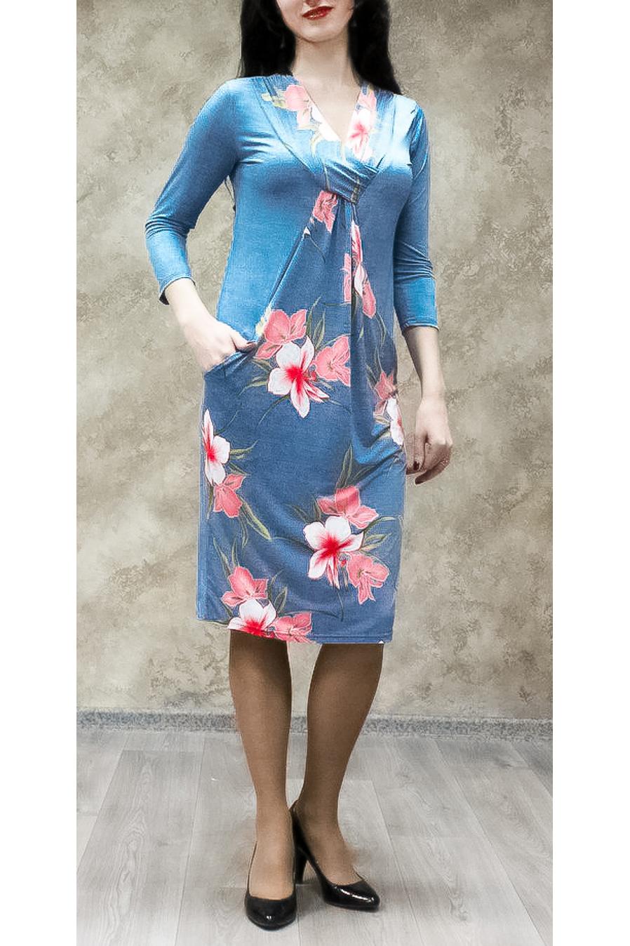 ПлатьеПлатья<br>Цветное платье с интересной горловиной и рукавами 3/4. Модель выполнена из приятного трикотажа. Отличный выбор для любого случая.  В изделии использованы цвета: голубой, розовый и др.  Ростовка изделия 170 см.<br><br>Горловина: V- горловина<br>По длине: Ниже колена<br>По материалу: Трикотаж<br>По рисунку: Растительные мотивы,С принтом,Цветные,Цветочные<br>По силуэту: Полуприталенные<br>По стилю: Повседневный стиль<br>По форме: Платье - футляр<br>По элементам: С карманами<br>Рукав: Рукав три четверти<br>По сезону: Осень,Весна<br>Размер : 50,52,54,56,58<br>Материал: Холодное масло<br>Количество в наличии: 27
