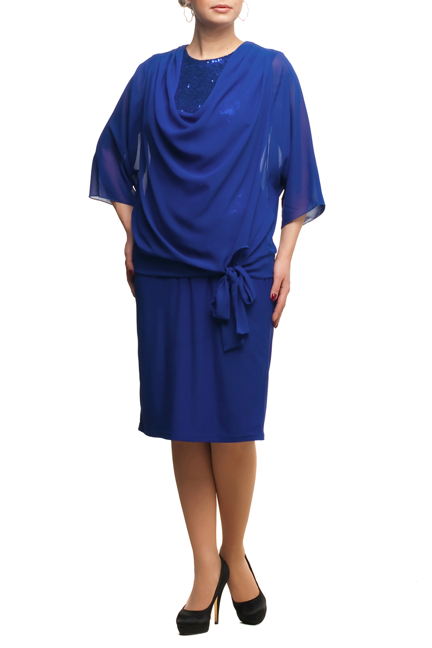 ПлатьеПлатья<br>Нарядное платье с накидой из воздушного шифона. Модель выполнена из приятных материалов. Отличный выбор для любого торжества.  В изделии использованы цвета: синий  Рост девушки-фотомодели 173 см.<br><br>Горловина: С- горловина<br>По длине: Ниже колена<br>По материалу: Трикотаж,Шифон<br>По рисунку: Однотонные<br>По сезону: Весна,Зима,Лето,Осень,Всесезон<br>По силуэту: Приталенные<br>По стилю: Вечерний стиль,Нарядный стиль<br>По форме: Платье - футляр<br>По элементам: С декором<br>Рукав: Рукав три четверти<br>Размер : 48,50,52,58,60,64<br>Материал: Холодное масло + Шифон<br>Количество в наличии: 6