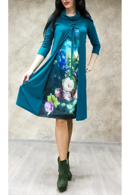 ПлатьеПлатья<br>Цветное платье с интересной горловиной и рукавами 3/4. Модель выполнена из приятного трикотажа. Отличный выбор для любого случая.  В изделии использованы цвета: синий и др.  Ростовка изделия 170 см.<br><br>Воротник: Хомут<br>По длине: Ниже колена<br>По материалу: Трикотаж<br>По рисунку: Растительные мотивы,С принтом,Цветные,Цветочные<br>По силуэту: Свободные<br>По стилю: Повседневный стиль<br>По форме: Платье - трапеция<br>Рукав: Рукав три четверти<br>По сезону: Осень,Весна<br>Размер : 50,52<br>Материал: Холодное масло<br>Количество в наличии: 4