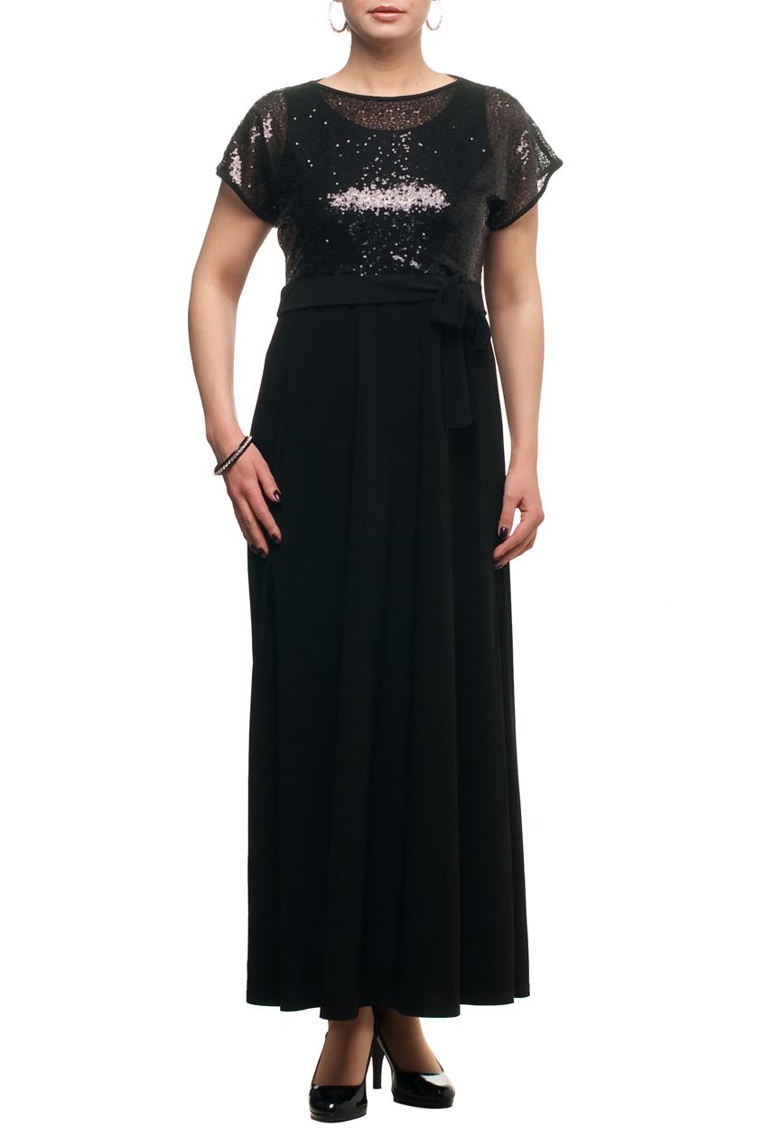 ПлатьеПлатья<br>Нарядное платье с имитацией накидки из ткани с пайетками. Модель выполнена из приятных материалов. Отличный выбор для любого торжества.  Цвет: черный  Рост девушки-фотомодели 173 см.<br><br>Горловина: С- горловина<br>По длине: Макси<br>По материалу: Гипюровая сетка,Трикотаж<br>По рисунку: Однотонные<br>По сезону: Весна,Зима,Лето,Осень,Всесезон<br>По силуэту: Полуприталенные<br>По стилю: Вечерний стиль,Нарядный стиль<br>По элементам: С декором<br>Рукав: Короткий рукав<br>Размер : 48,50,52,56,58,60,62,66,68,70<br>Материал: Холодное масло + Гипюровая сетка<br>Количество в наличии: 10