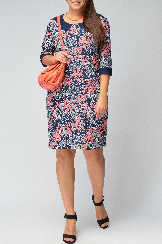 ПлатьеПлатья<br>Цветное платье с контрастными манжетами и воротничком. Модель выполнена из приятного материала. Отличный выбор для любого случая.  В изделии использованы цвета: синий, белый, коралловый, серый  Рост девушки-фотомодели 176 см.<br><br>Воротник: Отложной<br>Горловина: С- горловина<br>По длине: До колена<br>По материалу: Трикотаж<br>По рисунку: Растительные мотивы,С принтом,Цветные,Цветочные<br>По силуэту: Полуприталенные<br>По стилю: Повседневный стиль<br>По форме: Платье - футляр<br>По элементам: С манжетами,С разрезом<br>Рукав: Рукав три четверти<br>Разрез: Короткий,Шлица<br>По сезону: Осень,Весна,Зима<br>Размер : 50,52,54,56,58<br>Материал: Трикотаж<br>Количество в наличии: 8
