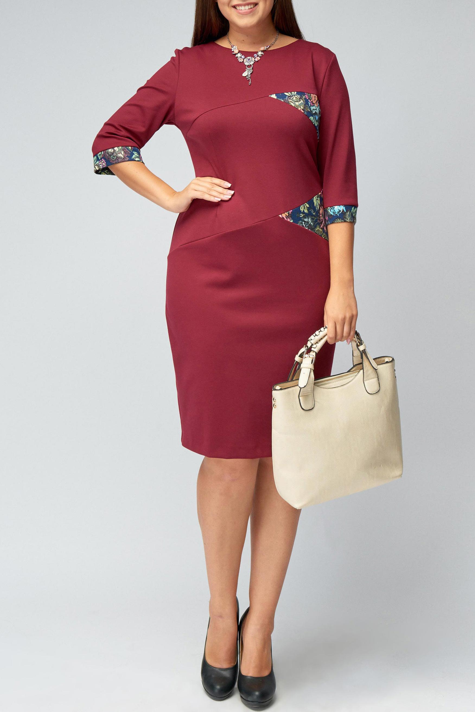 ПлатьеПлатья<br>Изящное, женственное платье из вискозного джерси украшено декоративными вставками из ткани-компаньона. В зависимости от аксессуаров можно использовать как повседневный и как умеренно нарядный вариант.   В изделии использованы цвета: бордовый, синий и др.  Рост девушки-фотомодели 176 см.<br><br>Горловина: С- горловина<br>По длине: До колена<br>По материалу: Вискоза,Трикотаж<br>По образу: Город,Свидание<br>По рисунку: С принтом,Цветные<br>По сезону: Зима,Осень,Весна<br>По силуэту: Приталенные<br>По стилю: Повседневный стиль<br>По форме: Платье - футляр<br>По элементам: С манжетами,С разрезом<br>Разрез: Короткий,Шлица<br>Рукав: Рукав три четверти<br>Размер : 46,48,50,52<br>Материал: Джерси<br>Количество в наличии: 7