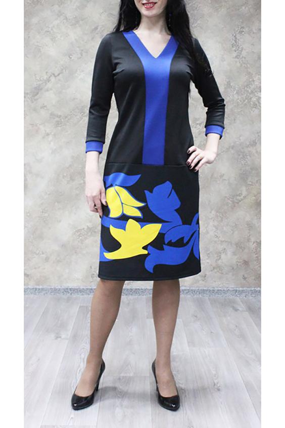 ПлатьеПлатья<br>Замечательное женское платье из  трикотажного полотна для прекрасных дам. Станет идеальным вариантом повседневного или выходного наряда.  Цвет: черный, синий, желтый.  Ростовка изделия 170 см.<br><br>Горловина: V- горловина<br>По длине: Ниже колена<br>По материалу: Трикотаж<br>По образу: Город,Свидание<br>По рисунку: Абстракция,С принтом,Цветные<br>По силуэту: Полуприталенные<br>По стилю: Повседневный стиль<br>По форме: Платье - футляр<br>По элементам: С вырезом,С заниженной талией,С манжетами<br>Рукав: Рукав три четверти<br>По сезону: Осень,Весна,Зима<br>Размер : 52,54,56,58<br>Материал: Трикотаж<br>Количество в наличии: 12