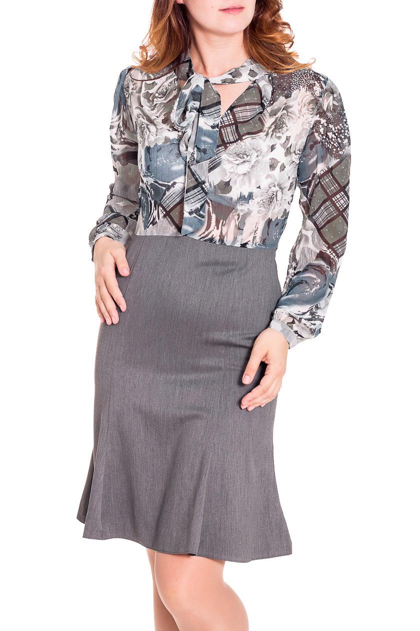 ПлатьеПлатья<br>Эффектное женское платье имитирующее юбку и блузку. Юбка годе, ниже колена, ткань полушерстяная , верх выполнен в классическом стиле блузы из шифона, рукав широкий на манжете, по переду воротник шарф .  Цвет: серый, белый  Рост девушки-фотомодели 180 см.<br><br>По материалу: Тканевые,Шифон<br>По рисунку: Абстракция,Цветные,С принтом<br>По сезону: Весна,Всесезон,Зима,Лето,Осень<br>По силуэту: Полуприталенные<br>По стилю: Повседневный стиль<br>Рукав: Длинный рукав<br>По длине: До колена<br>По форме: Платье - годе<br>Размер : 46,50<br>Материал: Костюмно-плательная ткань<br>Количество в наличии: 2
