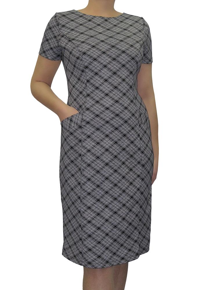 ПлатьеПлатья<br>Элегантное женское платье из трикотажного полотна с рисунком в клетку. Красивый вырез горловины лодочка спереди, сзади переходит в смелый глубокий V-образный. Декоративная молния до низа изделия. Приталенный облегающий силуэт, в рельефах спереди карманы. Короткие рукава, длина до колена.  Цвет: серый<br><br>По материалу: Тканевые<br>По рисунку: Цветные,В клетку,С принтом<br>По сезону: Весна,Осень<br>По силуэту: Полуприталенные<br>Рукав: Короткий рукав<br>По форме: Платье - футляр<br>По стилю: Офисный стиль,Повседневный стиль<br>Горловина: С- горловина<br>По длине: Ниже колена<br>По элементам: С карманами<br>Размер : 44<br>Материал: Костюмно-плательная ткань<br>Количество в наличии: 1