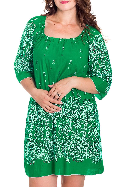 ПлатьеПлатья<br>Свободное платье с перфорацией. Модель выполнена из натурального хлопка. Отличный выбор для повседневного гардероба.  В изделии использованы цвета: зеленый, белый  Рост девушки-фотомодели 180 см.<br><br>Горловина: С- горловина<br>По длине: До колена<br>По материалу: Хлопок<br>По рисунку: С принтом,Цветные<br>По силуэту: Свободные<br>По стилю: Повседневный стиль<br>По форме: Платье - трапеция<br>По элементам: С декором<br>Рукав: Рукав три четверти<br>По сезону: Лето<br>Размер : 44,46<br>Материал: Хлопок<br>Количество в наличии: 3