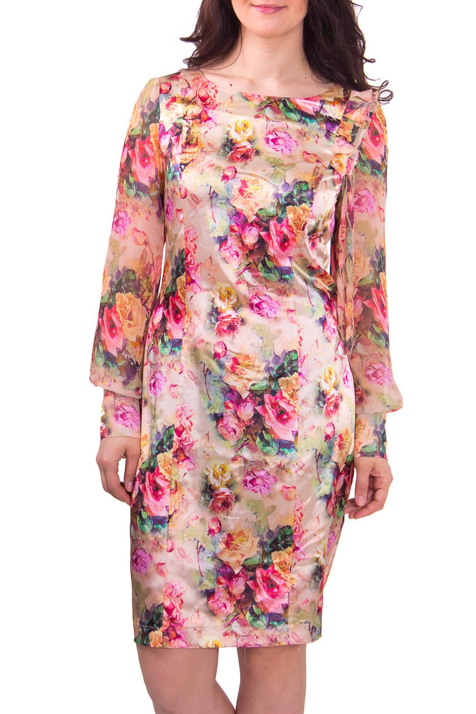ПлатьеПлатья<br>Женское платье с горловиной лодочка и длинным рукавом. Модель выполнена из гладкого атласа с цветочным принтом. Отличный вариант для любого торжества.  Цвет: бежевый с розовым  Рост девушки-фотомодели 180 см<br><br>По рисунку: Растительные мотивы,Цветные,С принтом<br>По сезону: Весна,Всесезон,Зима,Лето,Осень<br>Рукав: Длинный рукав<br>По форме: Платье - футляр<br>По материалу: Атлас,Шифон<br>По стилю: Романтический стиль,Нарядный стиль<br>Горловина: С- горловина<br>По длине: До колена<br>По силуэту: Приталенные<br>По элементам: С манжетами,С разрезом<br>Разрез: Короткий<br>Размер : 44<br>Материал: Атлас + Шифон<br>Количество в наличии: 2