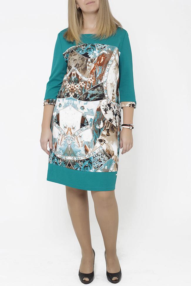 ПлатьеПлатья<br>Цветное платье с круглой горловиной и рукавами 3/4. Модель выполнена из приятного трикотажа. Отличный выбор для повседневного гардероба.  В изделии использованы цвета: бирюзовый, белый и др.  Параметры размеров: 44 размер - обхват груди 84 см., обхват талии 72 см., обхват бедер 97 см. 46 размер - обхват груди 92 см., обхват талии 76 см., обхват бедер 100 см. 48 размер - обхват груди 96 см., обхват талии 80 см., обхват бедер 103 см. 50 размер - обхват груди 100 см., обхват талии 84 см., обхват бедер 106 см. 52 размер - обхват груди 104 см., обхват талии 88 см., обхват бедер 109 см. 54 размер - обхват груди 110 см., обхват талии 94,5 см., обхват бедер 114 см. 56 размер - обхват груди 116 см., обхват талии 101 см., обхват бедер 119 см. 58 размер - обхват груди 122 см., обхват талии 107,5 см., обхват бедер 124 см. 60 размер - обхват груди 128 см., обхват талии 114 см., обхват бедер 129 см.  Ростовка изделия 168 см.<br><br>Горловина: С- горловина<br>По длине: До колена<br>По материалу: Трикотаж<br>По рисунку: С принтом,Цветные<br>По силуэту: Полуприталенные<br>По стилю: Повседневный стиль<br>По форме: Платье - футляр<br>Рукав: Рукав три четверти<br>По сезону: Осень,Весна,Зима<br>Размер : 48,50,52<br>Материал: Трикотаж<br>Количество в наличии: 6