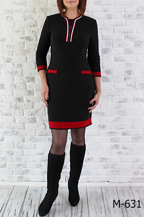 ПлатьеПлатья<br>Женское платье приталенного силуэта с длинными рукавами. Вязаный трикотаж - это красота, тепло и комфорт. В вязаных вещах очень легко оставаться женственной и в то же время не замёрзнуть.  Цвет: черный, красный  Ростовка изделия 170 см.<br><br>Горловина: С- горловина<br>По длине: До колена<br>По материалу: Вязаные,Трикотаж,Шерсть<br>По образу: Город,Свидание<br>По рисунку: Цветные<br>По сезону: Зима,Осень<br>По силуэту: Полуприталенные<br>По стилю: Повседневный стиль<br>По форме: Платье - футляр<br>Рукав: Длинный рукав<br>Размер : 46,48,52,54<br>Материал: Вязаное полотно<br>Количество в наличии: 11