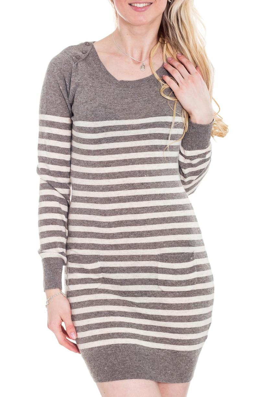 ПлатьеПлатья<br>Полосатое платье приталенного силуэта с округлой горловиной и длинными рукавами. Модель выполнена из вязаного трикотажа. Вязаный трикотаж - это красота, тепло и комфорт. В вязаных вещах очень легко оставаться женственной и в то же время не замёрзнуть.  Цвет: серый, белый.  Рост девушки-фотомодели 170 см<br><br>Горловина: С- горловина<br>По длине: До колена<br>По материалу: Вязаные,Трикотаж<br>По образу: Город<br>По рисунку: В полоску,Цветные<br>По сезону: Осень,Зима<br>По силуэту: Приталенные<br>По стилю: Кэжуал,Повседневный стиль<br>По форме: Платье - футляр<br>Рукав: Длинный рукав<br>Размер : 42,44,46,48<br>Материал: Вязаное полотно<br>Количество в наличии: 19