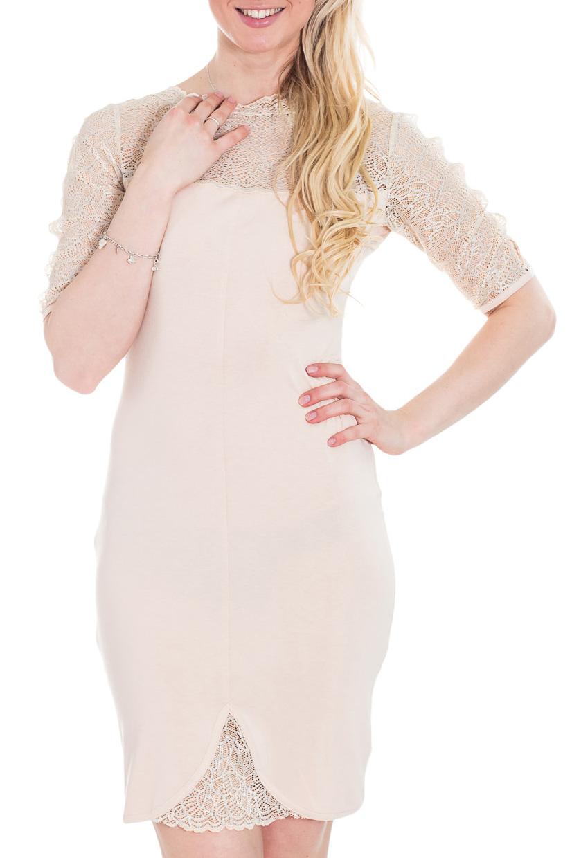 ПлатьеПлатья<br>Облегающее платье средней длины из тонкого трикотажа с рукавом до локтя и эффектной кокеткой из кружева. Рукава декоративны стразами. Подойдет как для повседневных выходов, так и для особых случаев.  Цвет: бежевый  Рост девушки-фотомодели 170 см.<br><br>Горловина: С- горловина<br>По длине: До колена<br>По материалу: Вискоза,Гипюр,Трикотаж<br>По образу: Свидание<br>По рисунку: Однотонные<br>По сезону: Весна,Зима,Лето,Осень,Всесезон<br>По силуэту: Приталенные<br>По стилю: Нарядный стиль<br>По форме: Платье - футляр<br>По элементам: С декором<br>Рукав: До локтя<br>Размер : 42,46<br>Материал: Вискоза + Гипюр<br>Количество в наличии: 4