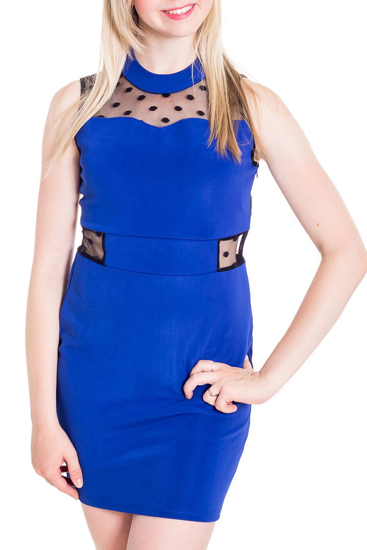 ПлатьеПлатья<br>Шикарное женское платье приталенного силуэта с гипюровой спинкой. В этом платье Вы не останетесь незамеченной.  Цвет: синий, черный.  Рост девушки-фотомодели 170 см<br><br>Воротник: Стойка<br>По длине: До колена<br>По материалу: Гипюровая сетка,Тканевые<br>По рисунку: Цветные<br>По сезону: Весна,Зима,Лето,Осень,Всесезон<br>По силуэту: Приталенные<br>По стилю: Нарядный стиль<br>По форме: Платье - футляр<br>По элементам: С декором,С подкладом<br>Рукав: Без рукавов<br>Размер : 40,42,44,46<br>Материал: Трикотаж + Гипюровая сетка<br>Количество в наличии: 4