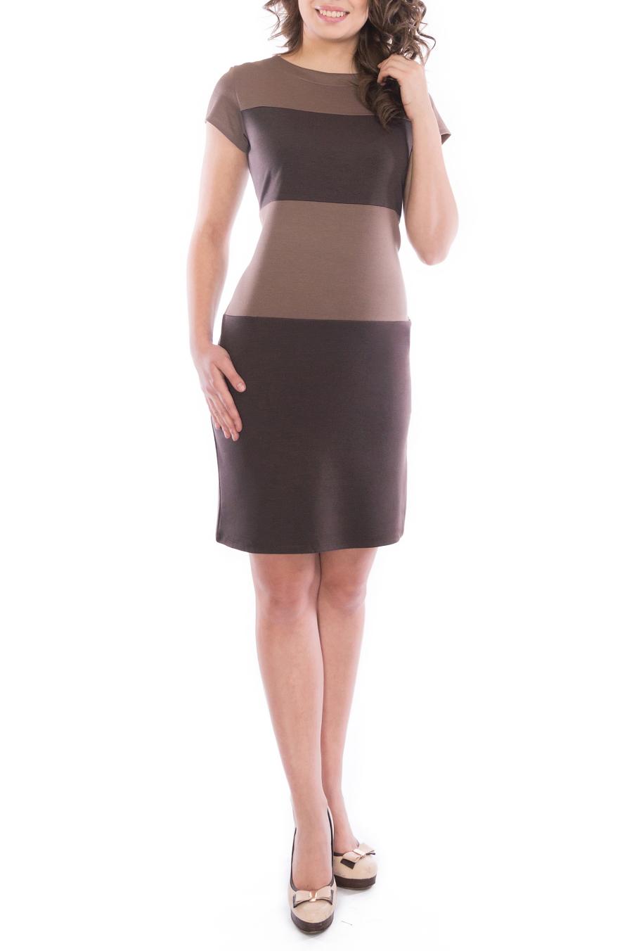 ПлатьеПлатья<br>Элегантное платье построенное на сочетании двух контрастных цветов. Классический вариант для офиса. Ткань - плотный трикотаж, характеризующийся эластичностью, растяжимостью и мягкостью. Ростовка изделия 170 см.  Длина изделия 96-98 см.  В изделии использованы цвета: коричневый, бежевый  Рост девушки-фотомодели 173 см<br><br>Горловина: С- горловина<br>По длине: До колена<br>По материалу: Вискоза,Трикотаж<br>По рисунку: В полоску,Цветные<br>По силуэту: Приталенные<br>По стилю: Офисный стиль,Повседневный стиль<br>По форме: Платье - футляр<br>Рукав: Короткий рукав<br>По сезону: Осень,Весна,Зима<br>Размер : 44,46,48,50,52<br>Материал: Трикотаж<br>Количество в наличии: 8