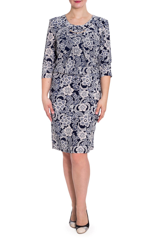 ПлатьеПлатья<br>Красивое платье с небольшим напуском в районе талии. Модель выполнена из приятного материала. Отличный выбор для любого случая.  В изделии использованы цвета: темно-синий, бежевый, белый  Параметры размеров: 44 размер - обхват груди 84 см., обхват талии 72 см., обхват бедер 97 см. 46 размер - обхват груди 92 см., обхват талии 76 см., обхват бедер 100 см. 48 размер - обхват груди 96 см., обхват талии 80 см., обхват бедер 103 см. 50 размер - обхват груди 100 см., обхват талии 84 см., обхват бедер 106 см. 52 размер - обхват груди 104 см., обхват талии 88 см., обхват бедер 109 см. 54 размер - обхват груди 110 см., обхват талии 94,5 см., обхват бедер 114 см. 56 размер - обхват груди 116 см., обхват талии 101 см., обхват бедер 119 см. 58 размер - обхват груди 122 см., обхват талии 107,5 см., обхват бедер 124 см. 60 размер - обхват груди 128 см., обхват талии 114 см., обхват бедер 129 см.  Ростовка изделия 168 см.  Рост девушки-фотомодели 180 см<br><br>Горловина: С- горловина<br>По длине: До колена<br>По материалу: Трикотаж,Шифон<br>По рисунку: С принтом,Цветные<br>По силуэту: Полуприталенные<br>По стилю: Нарядный стиль,Повседневный стиль<br>По форме: Платье - футляр<br>По элементам: С декором<br>Рукав: Рукав три четверти<br>По сезону: Осень,Весна,Зима<br>Размер : 54,56,58,60<br>Материал: Холодное масло + Шифон<br>Количество в наличии: 7