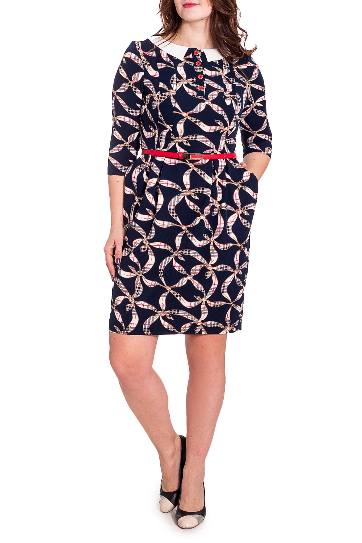 ПлатьеПлатья<br>Чудесное платье с рукавами 3/4. Модель выполнена из мягкого трикотажа. Отличный выбор для повседневного гардероба. Платье без пояса.  В изделии использованы цвета: темно-синий, бежевый  Рост девушки-фотомодели 180 см.<br><br>Воротник: Отложной<br>Горловина: С- горловина<br>По длине: До колена<br>По материалу: Вискоза,Трикотаж<br>По рисунку: С принтом,Цветные<br>По силуэту: Приталенные<br>По стилю: Повседневный стиль<br>По форме: Платье - футляр<br>По элементам: С декором<br>Рукав: Рукав три четверти<br>По сезону: Осень,Весна,Зима<br>Размер : 42,44,46,50<br>Материал: Трикотаж<br>Количество в наличии: 4