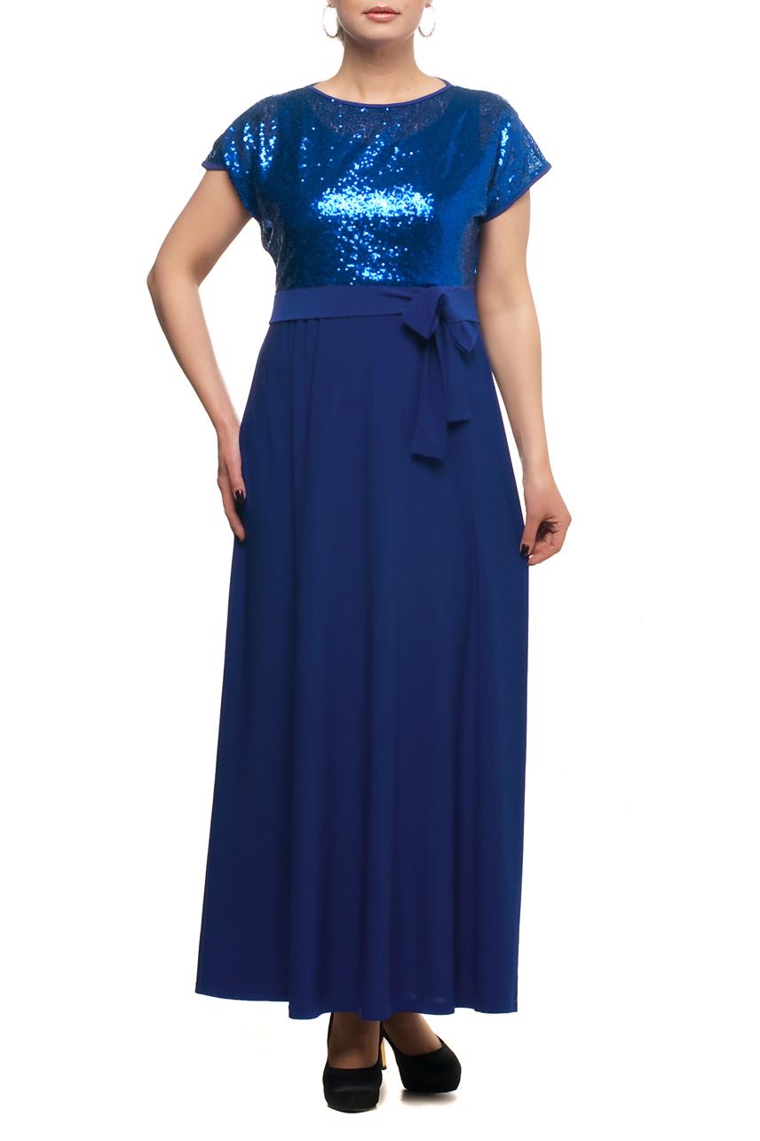 ПлатьеПлатья<br>Нарядное платье с имитацией накидки из ткани с пайетками. Модель выполнена из приятных материалов. Отличный выбор для любого торжества.  Цвет: синий  Рост девушки-фотомодели 173 см.<br><br>Горловина: С- горловина<br>По длине: Макси<br>По материалу: Гипюровая сетка,Трикотаж<br>По рисунку: Однотонные<br>По сезону: Весна,Зима,Лето,Осень,Всесезон<br>По силуэту: Полуприталенные<br>По стилю: Вечерний стиль,Нарядный стиль<br>По элементам: С декором<br>Рукав: Короткий рукав<br>Размер : 48,50,54,56,58,60,62,64,66,68<br>Материал: Холодное масло + Гипюровая сетка<br>Количество в наличии: 10