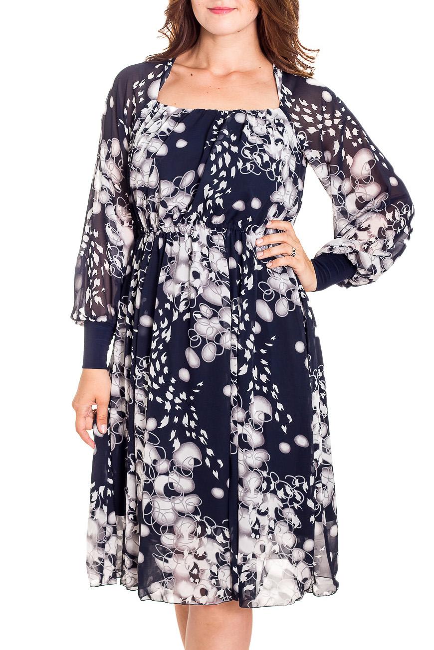 ПлатьеПлатья<br>Женственное шифоновое платье отрезное по талии. Лиф платья двойной спереди, со сборкой по линии декольте.  Длинные широкие рукава-реглан на широкой манжете в сочетании с удлиненной расклешенной юбкой 6-тиклинкой сделают из своей обладательницы утонченную загадочную особу. В области талии платье на бельевой резинке, что обеспечит надежную фиксацию на любой фигуре. Юбка на подкладке.   В изделии использованы цвета: синий, белый  Длина около 104 см.  Рост девушки-фотомодели 180 см.<br><br>Горловина: Квадратная горловина<br>По длине: Ниже колена<br>По материалу: Шифон<br>По рисунку: С принтом,Цветные<br>По сезону: Весна,Зима,Лето,Осень,Всесезон<br>По силуэту: Полуприталенные<br>По стилю: Нарядный стиль,Повседневный стиль<br>По форме: Платье - трапеция<br>По элементам: С манжетами<br>Рукав: Длинный рукав<br>Размер : 46,48,50,52,56<br>Материал: Шифон<br>Количество в наличии: 5