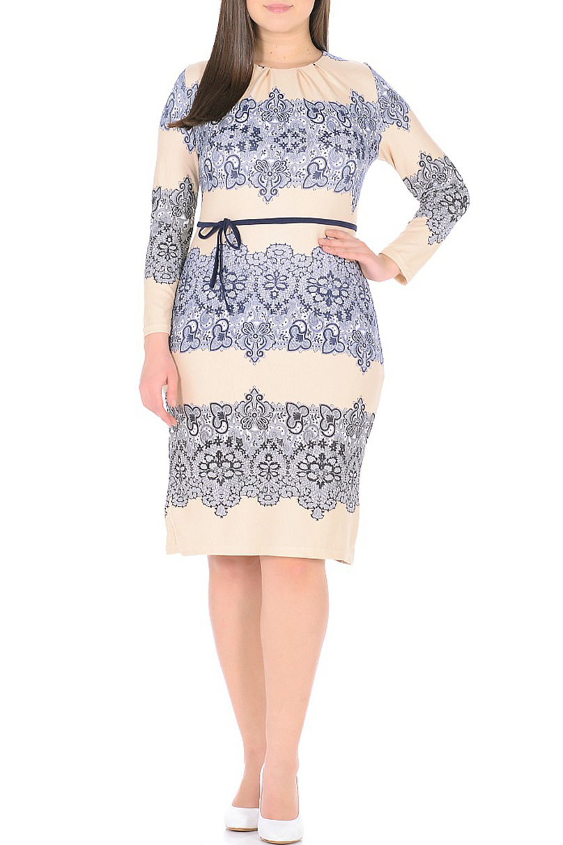 ПлатьеПлатья<br>Цветное платье с круглой горловиной и длинными рукавами. Модель выполнена из приятного трикотажа. Отличный выбор для повседневного гардероба. Платье без пояса.  В изделии использованы цвета: бежевый, белый, синий и др.  Ростовка изделия 170 см.<br><br>Горловина: С- горловина<br>По длине: До колена<br>По материалу: Вискоза,Трикотаж<br>По рисунку: С принтом,Цветные<br>По сезону: Зима,Осень,Весна<br>По силуэту: Полуприталенные<br>По стилю: Повседневный стиль<br>По форме: Платье - футляр<br>По элементам: Со складками<br>Рукав: Длинный рукав<br>Размер : 50,52,54,56,58,60<br>Материал: Трикотаж<br>Количество в наличии: 11
