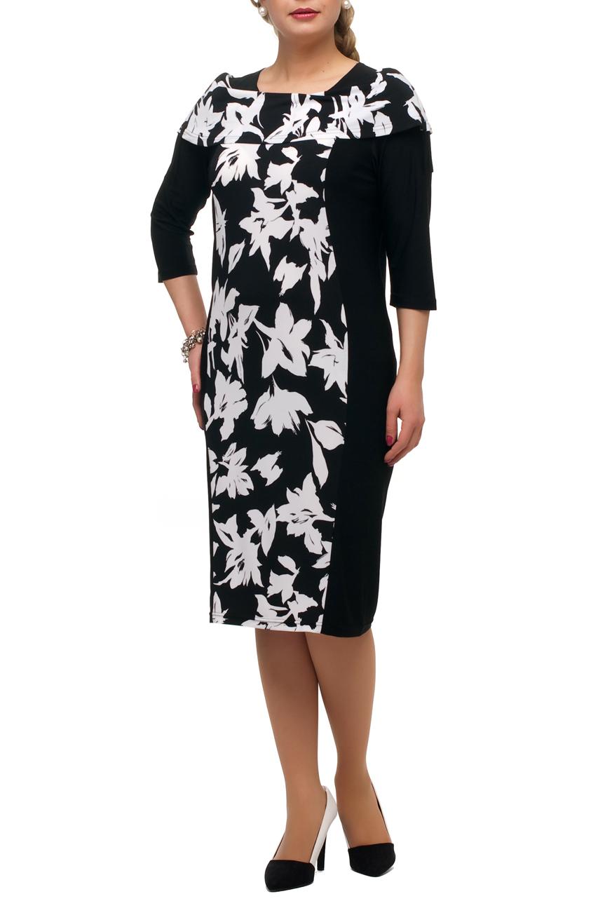 ПлатьеПлатья<br>Повседневное платье с круглой горловиной и рукавами 3/4. Модель выполнена из плотного трикотажа. Отличный выбор для любого случая.  В изделии использованы цвета: черный, белый  Рост девушки-фотомодели 173 см.<br><br>Горловина: С- горловина<br>По длине: Ниже колена<br>По материалу: Трикотаж<br>По рисунку: Растительные мотивы,С принтом,Цветные,Цветочные<br>По силуэту: Полуприталенные<br>По стилю: Повседневный стиль<br>По форме: Платье - футляр<br>Рукав: Рукав три четверти<br>По сезону: Осень,Весна<br>Размер : 48,50,52,54,56,58,60,62,64,66,68,70<br>Материал: Холодное масло<br>Количество в наличии: 21