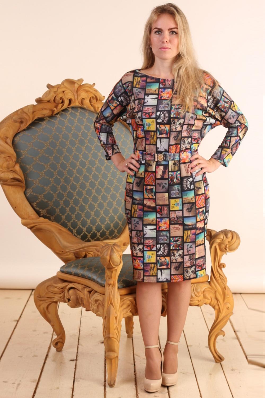 ПлатьеПлатья<br>Цветное платье с рукавами quot;летучая мышьquot; длиной 7/8. Модель выполнена из плотного трикотажа. Отличный выбор для повседневного гардероба.  Цвет: мультицвет  Длина изделия: 44 размер - 95 см 46 размер - 96 см 48 размер - 98 см 50 размер - 99 см 52 размер - 100 см 54 размер - 101см  Рост девушки-фотомодели 161 см.<br><br>Горловина: Лодочка<br>По длине: До колена<br>По материалу: Вискоза,Трикотаж<br>По рисунку: С принтом,Цветные<br>По силуэту: Полуприталенные<br>По стилю: Повседневный стиль<br>По форме: Платье - футляр<br>Рукав: Длинный рукав,Рукав три четверти<br>По сезону: Осень,Весна,Зима<br>Размер : 46<br>Материал: Джерси<br>Количество в наличии: 1