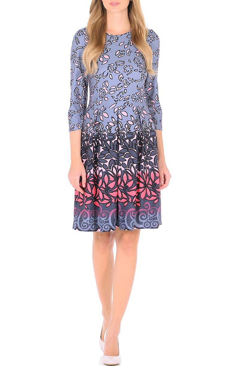 ПлатьеПлатья<br>Цветное платье с круглой горловиной и рукавами 3/4. Модель выполнена из приятного трикотажа. Отличный выбор для повседневного гардероба.  В изделии использованы цвета: серый, черный, розовый и др.  Ростовка изделия 170 см.<br><br>Горловина: С- горловина<br>По длине: До колена<br>По материалу: Трикотаж<br>По рисунку: С принтом,Цветные<br>По сезону: Зима,Осень,Весна<br>По силуэту: Приталенные<br>По стилю: Повседневный стиль<br>По форме: Платье - трапеция<br>Рукав: Рукав три четверти<br>Размер : 44<br>Материал: Трикотаж<br>Количество в наличии: 2