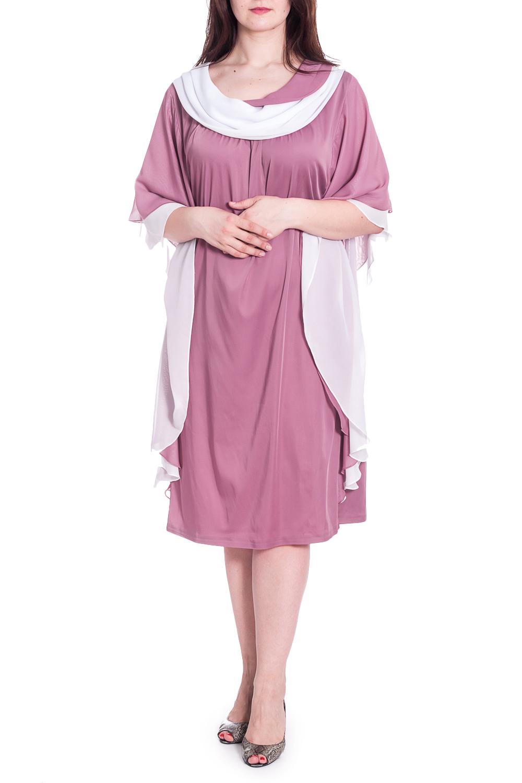 ПлатьеПлатья<br>Нарядное женское платье свободного силуэта с рукавами до локтя. Модель выполнена из  воздушного шифона. Отличный выбор для любого случая. Ростовка изделия 170 см.  В изделии использованы цвета: розовый, белый  Рост девушки-фотомодели 180 см.<br><br>Воротник: Отложной<br>Горловина: С- горловина<br>По длине: Ниже колена<br>По материалу: Шифон<br>По рисунку: Цветные<br>По сезону: Весна,Зима,Лето,Осень,Всесезон<br>По силуэту: Свободные<br>По стилю: Вечерний стиль,Нарядный стиль<br>Рукав: До локтя<br>Размер : 62,66,72<br>Материал: Шифон<br>Количество в наличии: 3