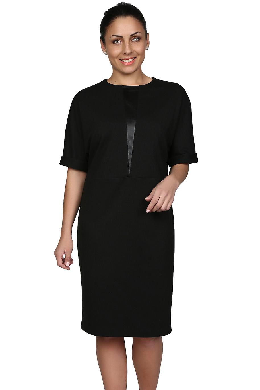 ПлатьеПлатья<br>Лаконичное платье с круглой горловиной и рукавами до локтя. Модель выполнена из плотного трикотажа однотонной расцветки. Отличный выбор для повседневного и делового гардероба.   Цвет: черный  Рост девушки-фотомодели 164 см.<br><br>Горловина: С- горловина<br>По длине: Ниже колена<br>По материалу: Вискоза,Трикотаж<br>По образу: Город,Офис,Свидание<br>По рисунку: Однотонные<br>По сезону: Зима,Осень,Весна<br>По силуэту: Прямые,Свободные<br>По стилю: Офисный стиль,Повседневный стиль<br>По форме: Платье - трапеция<br>Рукав: До локтя<br>Размер : 44,46,48,50<br>Материал: Джерси<br>Количество в наличии: 3